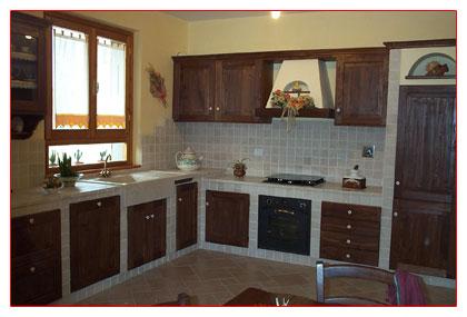 . cucina con parquet e isola con bancone in legno interior design ...